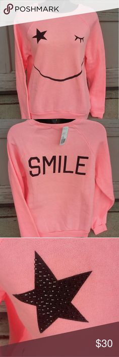 SALE Smiley Wink Face Coral Pullover Kawaii New! Forever 21 Sweaters