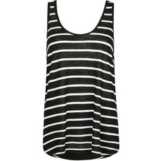 MANGO Striped linen-blend top (345 UAH) ❤ liked on Polyvore featuring tops, tanks, black, black stripe top, open back top, mango tops, open back tank and black tank