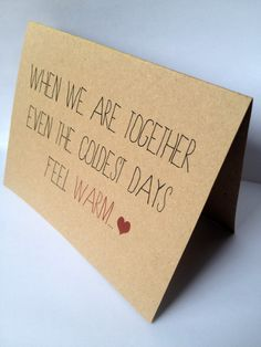 Cute When We Are Together - Recycled Valentine Card. $4.00, via Etsy.