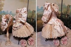 ~~~ Stunning French Bebe Silk Costume with Bonnet ~~~ : When Dreams Come True Doll-Shop Silk Bonnet, My Doll House, French Silk, Pretty Hands, Doll Shop, How To Make Buttons, Doll Costume, Pretty Dolls, Silk Skirt