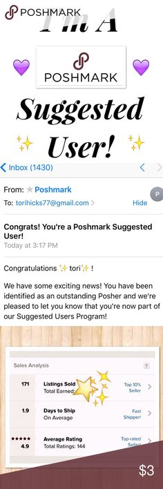 I'm A Suggested User!! I'm so excited to announce that I got THE email! I'm finally a suggested user on Poshmark!  I am beyond excited🎉 Thank you so much to all my posh friends for tips and tricks and of course shares 😍 and thank you to all of my customers! You guys made it all possible😘 Check out my posh stats and shop with confidence 💕☺️🎉💜 Free People Tops