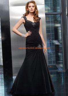 Meerjungfrau Schwarze Abendkleider aus Chiffon mit V-ausschnitt