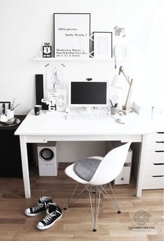 white desk space