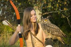 The Archeress — Hungarian bow in orange leather and eagleowl