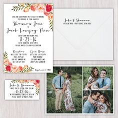 Watercolor floral corners, bright colors, faux hand-lettered, three-photo collage back, double-sided wedding announcement with matching envelope and ceremony insert card