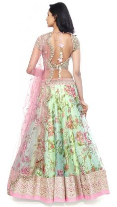 Georgette Party Wear Lehenga Choli in Sea Green Colour Indian Wedding Outfits, Bridal Outfits, Indian Outfits, Bridal Dresses, Western Outfits, Floral Lehenga, Lehenga Choli, Green Lehenga, Indian Fashion Designers