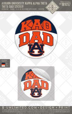 #KappaAlphaTheta #ParentsWeekend #Sorority #CustomSticker Button Tattoo, Kappa Alpha Theta, Dad Day, Auburn University, Greek Clothing, Custom Stickers, Custom Clothes, Sorority, Print Design
