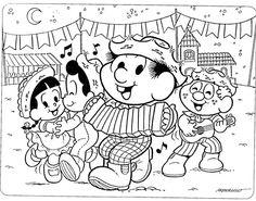 Desenhos da Turma da Mônica na Festa Junina. Imprima para colorir com lápis de cores ou pintar com canetinhas, giz de cera. São ótimos também para criações de convites para a festa de São João.
