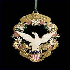 The 1998 White House Christmas ornament, honoring James Buchanan, the President of the United States, the ornament features a bald eagle on top of a kite shield. White House Ornaments, White House Christmas Ornament, Christmas Photos, Christmas Holidays, Christmas Decorations, Holiday Decor, Christmas Trees, George Washington Pictures, Washington Dc