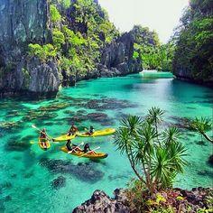 Kayaking the Big Lagoon, El Nido, Palawan, Philippines.