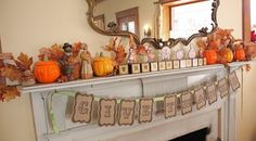 """I love the pennant banner, especially with this saying: """"Give Thanks"""".  *Fall DIY Decor Projects Found Here*"""