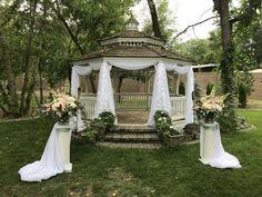 Norland Gazebo Symmetrical Sheer Draping with Petal Accents Gazebo Wedding Decorations, Wedding Gazebo, Wedding Ceremony, White Gazebo, Here Comes The Bride, Draping, Outdoor Structures, Wedding Ideas, Wedding Ceremony Ideas