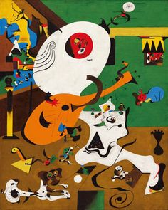 "Juan Miro (Spanish) - Dutch Interior, 17th–century painting by Hendrick Martensz Sorgh. depicting a lute player in a domestic interior.  ""I had the postcard pinned up on my easel while I painted,"" Miró reported. In bold, flat colors that rejected the naturalistic modeling and perspective of seventeenth–century Dutch painting, Miró greatly accentuated some elements of Sorgh's composition, the lute and the man's head and ruffled collar in particular, while diminishing others. (MoMA)"