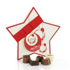 Christmas Star, Petit Indulgence Collection, available at LilyOBriens. Chocolate Christmas Gifts, Christmas Chocolates, Chocolate Gifts, Chocolate Box, Chocolate Wedding Favors, Wedding Favours, Irish Chocolate, Chocolate Hampers, Personalized Chocolate