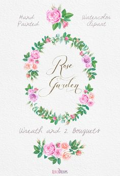 Watercolour Roses Wreath and Bouquets with Floral por ReachDreams