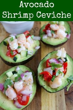 Avocado Shrimp Ceviche is light, refreshing, and so delicious. Stuff the avocados with the ceviche for an elegant presentation, or combine everything together for a light meal or appetizer. Make the ceviche ahead to give the flavors time to develop, and it will be a hit with family and friends #seafood #shrimp #avocado #ceviche #shrimpceviche