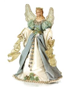 melrose christmas traditions elegant blue and cream angel tree topper unlit angel christmas tree toppers - Angel Topper For Christmas Tree