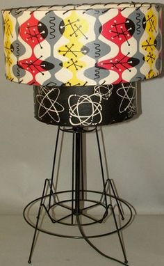 Vintage Atomic Space Age Table Lamp Two Tier Shade Eames Mid Century Modern w W | eBay