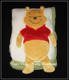 Winnie the Pooh Appliqued White Green Baby Blanket.