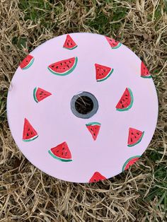 Watermelon Painted CD | Wall Art | Painting Decoration | Painted CD's Decor by ArtByKatherineCo on Etsy Record Wall Art, Cd Wall Art, Cd Art, Cute Canvas Paintings, Small Canvas Art, Mini Canvas Art, Hippie Painting, Diy Painting, Watermelon Painting