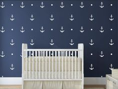 """Pattern Anchor and dot Wall Decals Decals for baby Nursery Walls Stickers Nautical Wall Decals Decor  ★ SIZE ★ 3"""" H by 2"""" W  For custom size, please"""