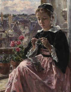 Marie Aimee Lucas-Robiquet A young Breton girl knitting by a window