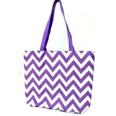 """April Fashion Island P18-601-PU Chevron Pattern Large Tote Bag-Purple / White Designed in California. Main compartment top zipper closure. 2 handle / shoulder straps, 10"""" drop. Constructed of lightweight and durable man made material, 100% polyester. Dimension: 16.5in L x 13.5in W x 4.75in H www.aprilfashionisland.com"""