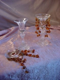 Vtg Beaded Drip Trays Glass Rings for Candles PLUS 2 Candlesticks Amber Clear