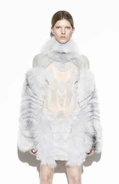 Wearable Art - fur dress with sculpted symmetric patterns and voluminous sleeves -   sculptural 3D fashion // Anne Sofie Madsen