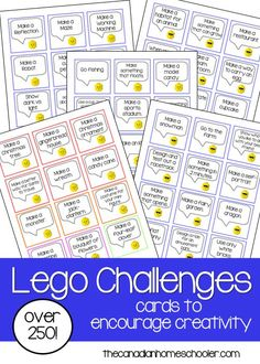 If you have a LEGO junkie, you're going to love this printable! Here's a FREE set of over 250 printable cards with building challenges for all sor