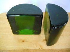 Green Vintage Blenko Heavy Crystal Glass Half Moon Bookends