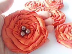 Orange Roses Handmade Appliques Embellishments5 by BizimSupplies, $12.50