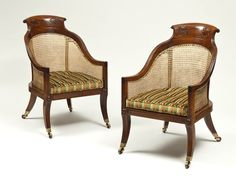 A Pair of Regency Period Mahogany   Curricle Bergeres Apter-Fredericks site circa 1810-1815