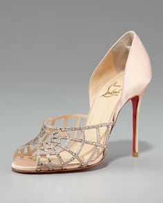 would have been a beautiful pair for wedding  Spiderweb d\'Orsay by Christian Louboutin at Neiman Marcus.