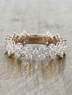 Ava: Intricate Floral Diamond Eternity Wedding Band | Ken & Dana Design