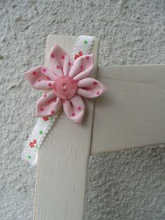 Haarband Blüte Blume Haarreifen rosa Kind Punkte von Krimskrämerei auf DaWanda.com
