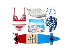 """""""I love to skate at the shore house my family rents in New Jersey in the summer, so packing my longboard is a must. It's the perfect way to get from point A to point B (as in beach). The rest of my look tends to skew tomboy: My favorite swimsuit is this red-and-white striped two-piece, which feels patriotic but works just as well any other summer weekend. I also love a pair of graphic shorts, and canvas sneakers (without socks!) are a must.""""Solid and Striped The Morgan striped triangle…"""