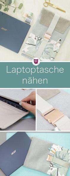 [Werbung] Passgenaue Laptoptasche nähen mit Klappe, Steckschnalle und Kunstleder. Das Schnittmuster erstellen wird gemeinsam. Inklusive Videoanleitung von DIY Eule