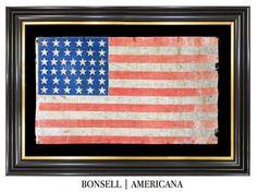 38 Star Antique US Flag with Handwritten Benjamin Harrison Campaign Overprint