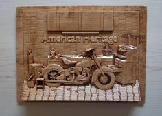Motorcycle Art ~ American Heritage Motorcycle ~ 9x12 Inch ~ Birch Wood ~ 5th Wood Anniversary Gift ~ Wood Wall Art Decor ~ Vintage Decor by TheWoodGrainGallery on Etsy