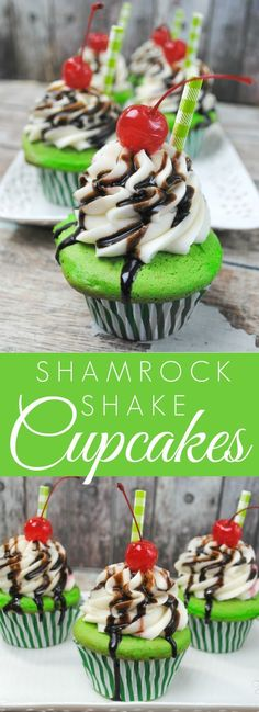 Easy Shamrock Shake Cupcakes Recipe - These are crazy good! We LOVE these cupcakes!!