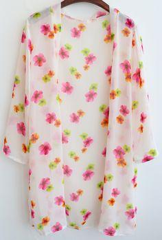 Kimono flores suelto gasa-(Sheinside)