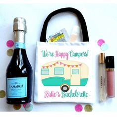 Camping Party Bag, Clamping Bachelorette Hangover Bag. Glamping Oh Shit kits! Camper party favor. #glamping swag bag