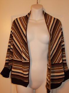 Ella Moss Multi Color Sweater Shrug Striped Size Medium Wool Cashmere Blend