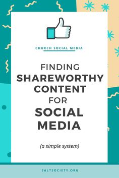 Finding shareworthy content for social media (a simple system!) The difficult thing about posting only great content on social media, is that it is so incredibly difficult to find share-worthy content to post. In this blog post I show you my simple system for churches to find and curate great content to post on social media! >> Click to read now or pin to save for later!