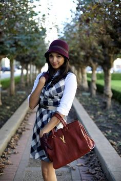 burgundy hat and YSL Tote