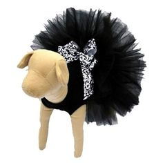 An elegant black tutu with damask bow for your furry fashionista.