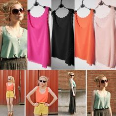 Discount China china wholesale Sexy Sheer Petal Wave Chiffon Coloured Tank Top Shirt [30162] - US$6.86 : DealsChic