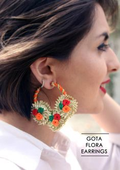 Gota flora Earrings boho chic bohemian indian ethnic indo-western handmade handcrafted quirky gypsy unique pom pom tassel made in india antique rings beautiful cool awesome indian wedding festive festival diwali party desi stone design colorful bright mandala hand painted   jhumka jhumki gold silver chaand chand baalis baali jewellery jewelery traditional sangeet mehendi pink yellow green blue red orange pearl bridal style fashion etsy studs ideas idea delhi mumbai kolkata krafted with…