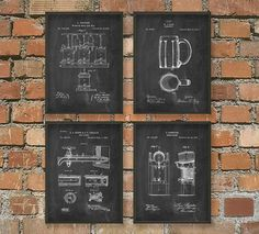 Beer Making and Drinking Equipment by QuantumPrints - set of four - comes in four color backgrounds